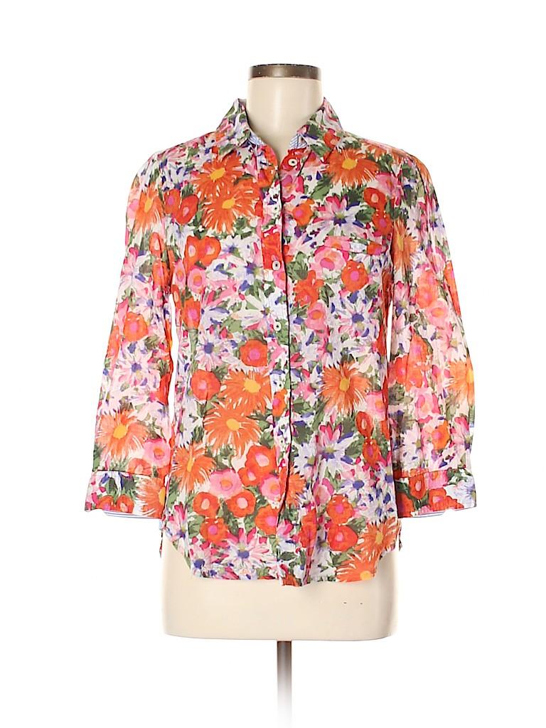 HD in Paris Women 3/4 Sleeve Button-Down Shirt Size 8
