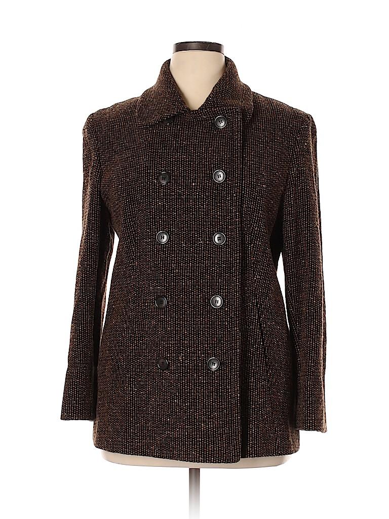 Jones New York Women Wool Coat Size 14 (Petite)