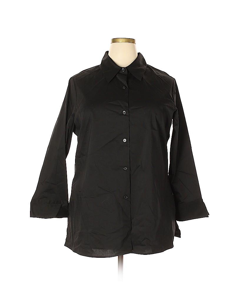Du Jour Women 3/4 Sleeve Button-Down Shirt Size 1X (Plus)