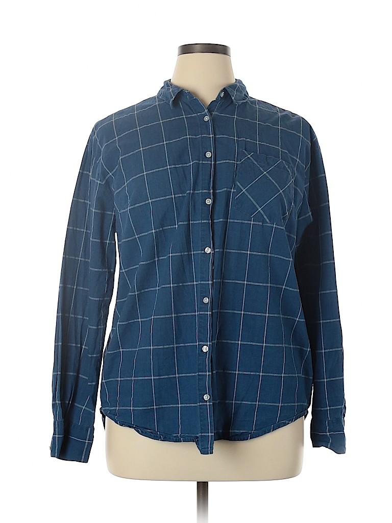 A New Day Women Long Sleeve Button-Down Shirt Size XXL