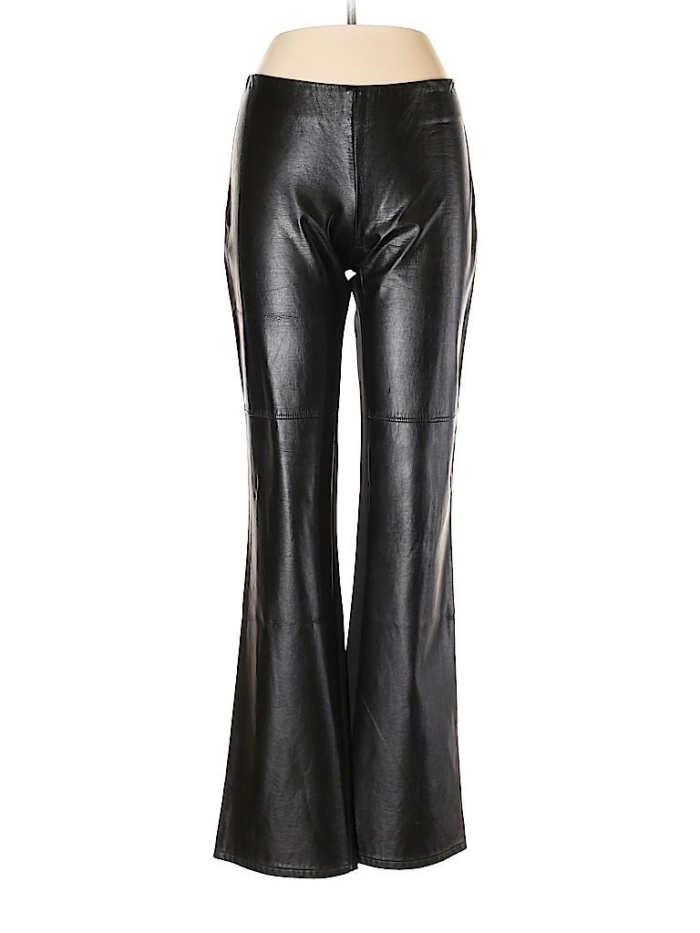 Sisley Women Faux Leather Pants Size 44 (IT)