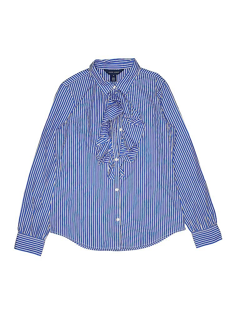 Ralph Lauren Girls Long Sleeve Button-Down Shirt Size 16