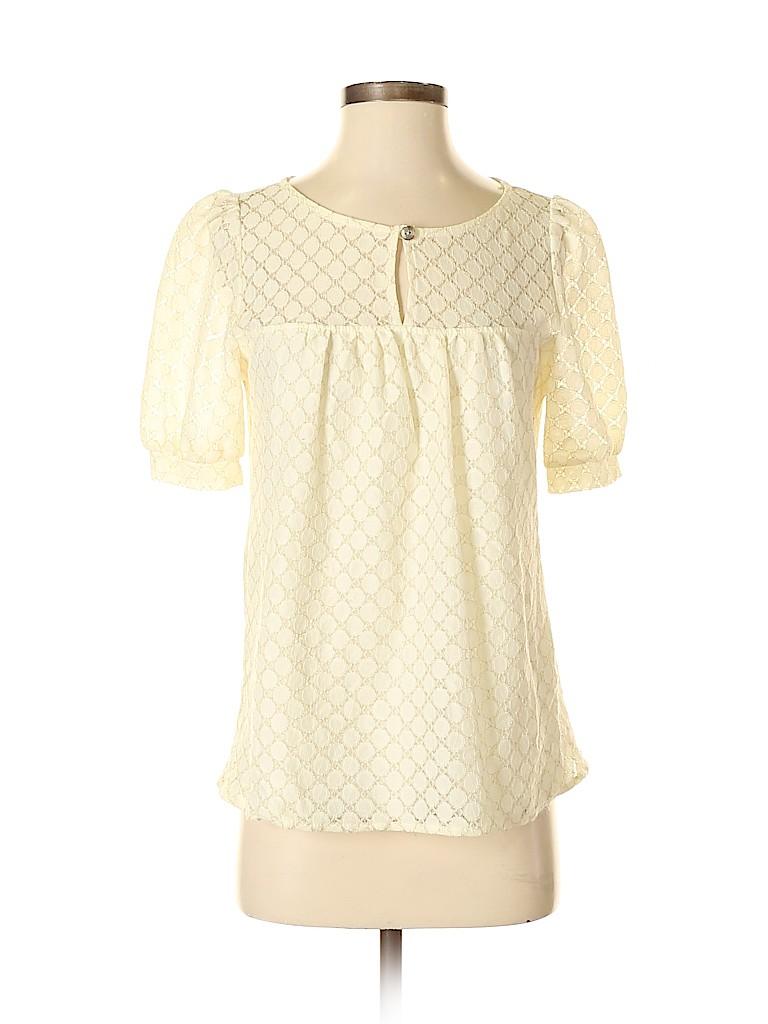 Pink Owl Women Short Sleeve Blouse Size S