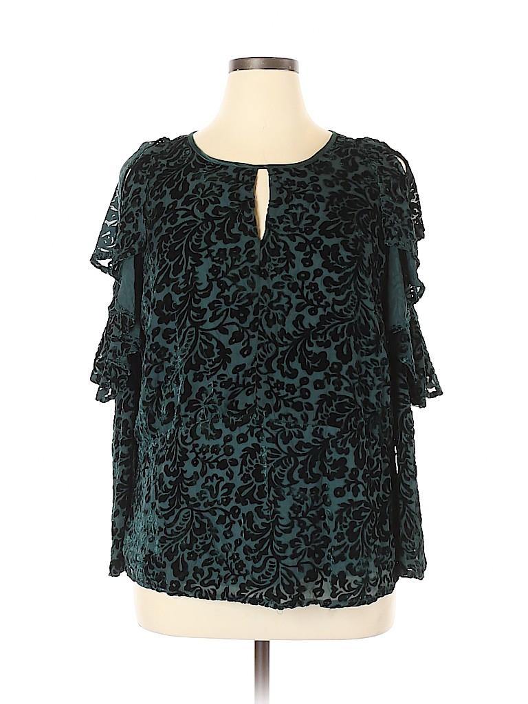 NANETTE Nanette Lepore Women Short Sleeve Blouse Size 1X (Plus)