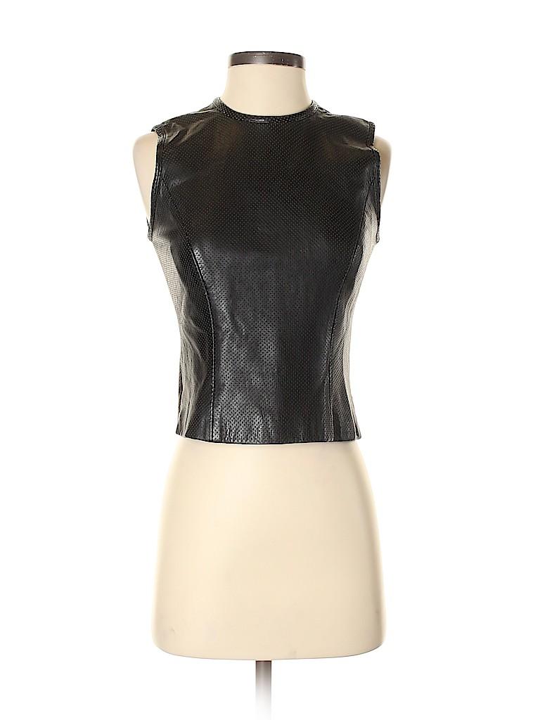 Cynthia Rowley Women Leather Top Size 2