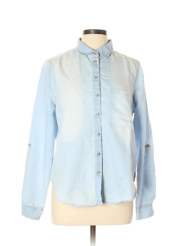 Polly & Esther Women Long Sleeve Button-Down Shirt Size L