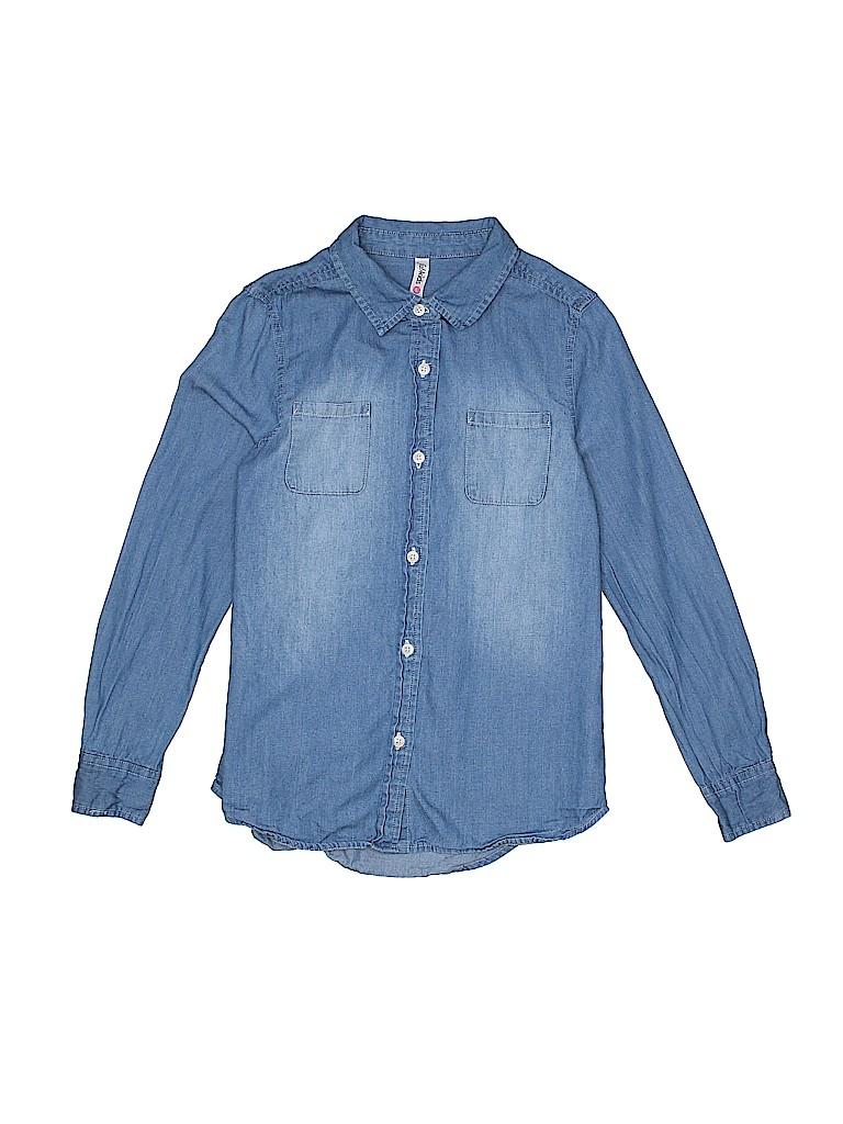 Fab Kids Girls Long Sleeve Button-Down Shirt Size 8 - 10