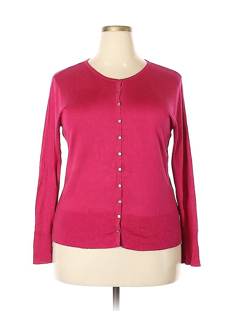 Sigrid Olsen Women Silk Cardigan Size 1X (Plus)
