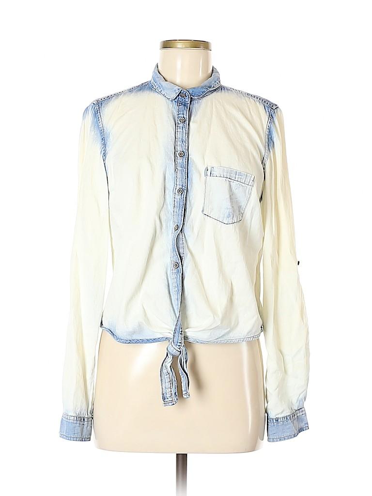 Garage Women Long Sleeve Button-Down Shirt Size M
