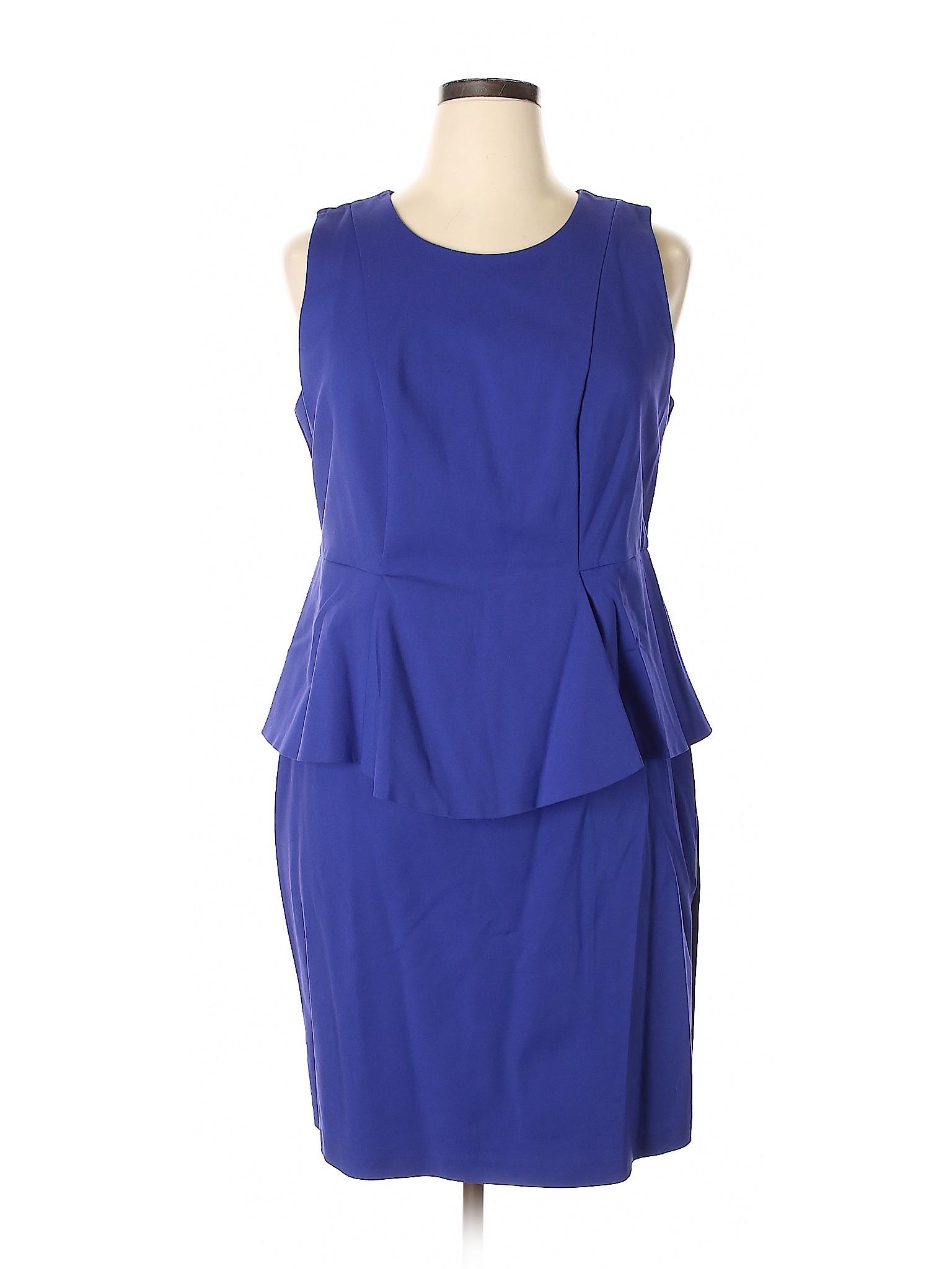 ba044d1ec89 Details about Eloquii Women Blue Casual Dress 16 Plus