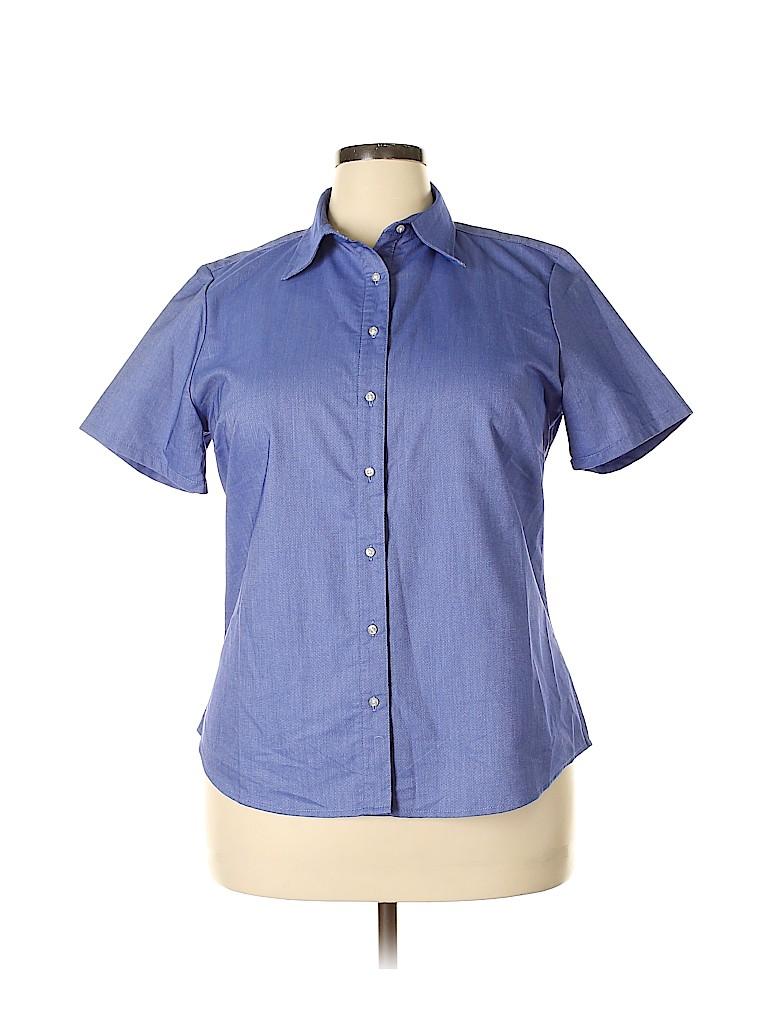 Lands' End Women Short Sleeve Blouse Size 16