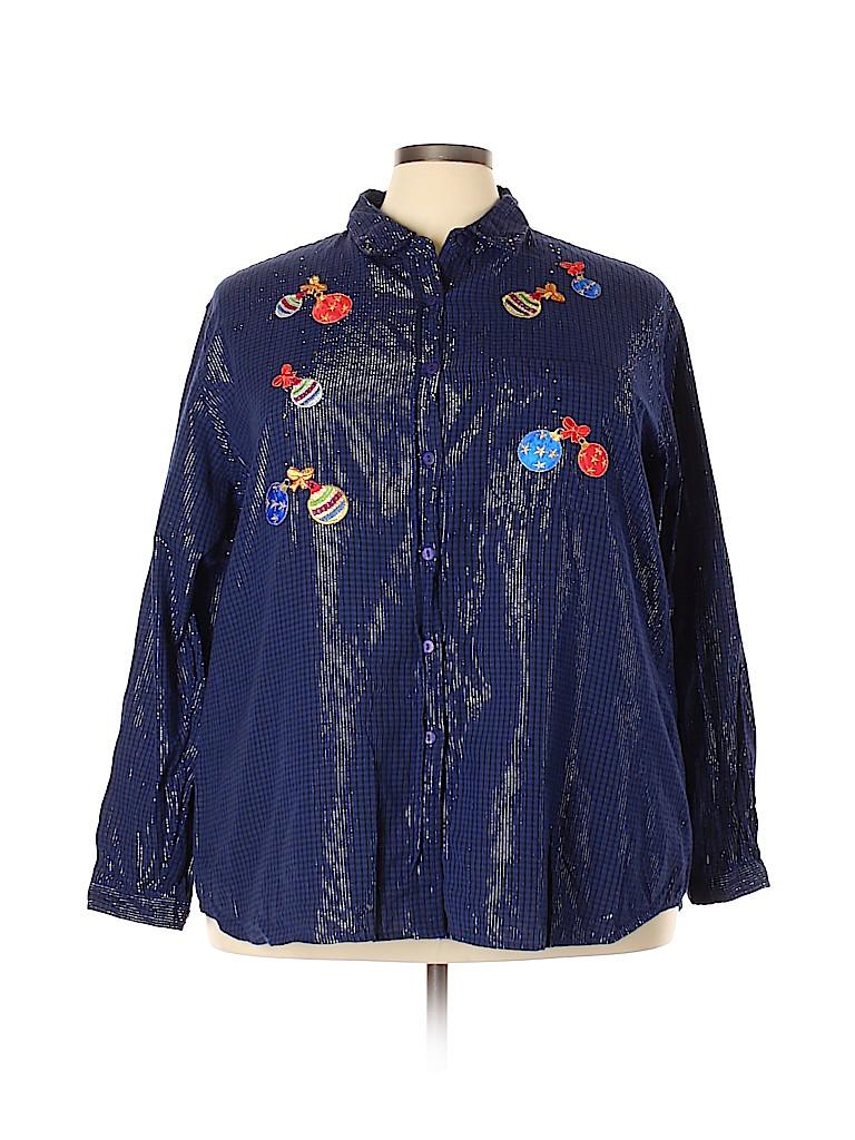 Bobbie Brooks Women Long Sleeve Button-Down Shirt Size 26 - 28 (Plus)