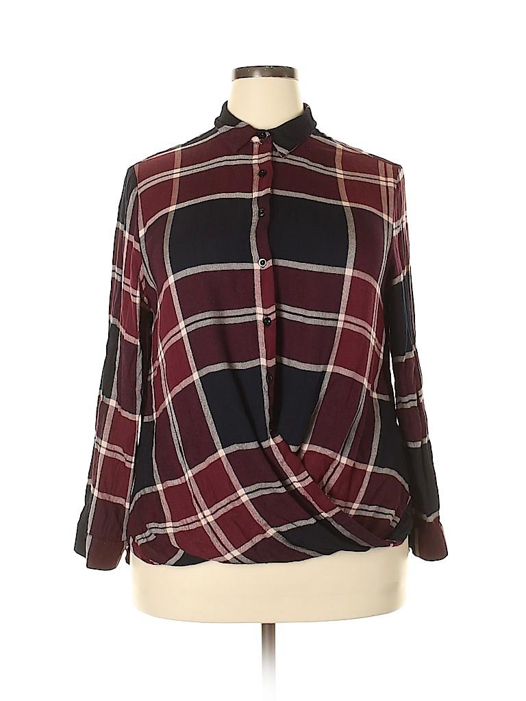 Essentials Women Long Sleeve Button-Down Shirt Size 1X (Plus)