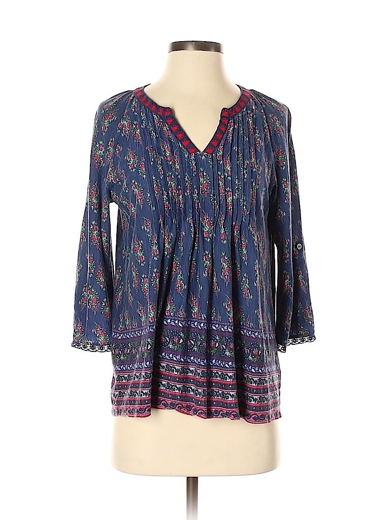 Vintage America Blues Women 3/4 Sleeve Blouse Size S