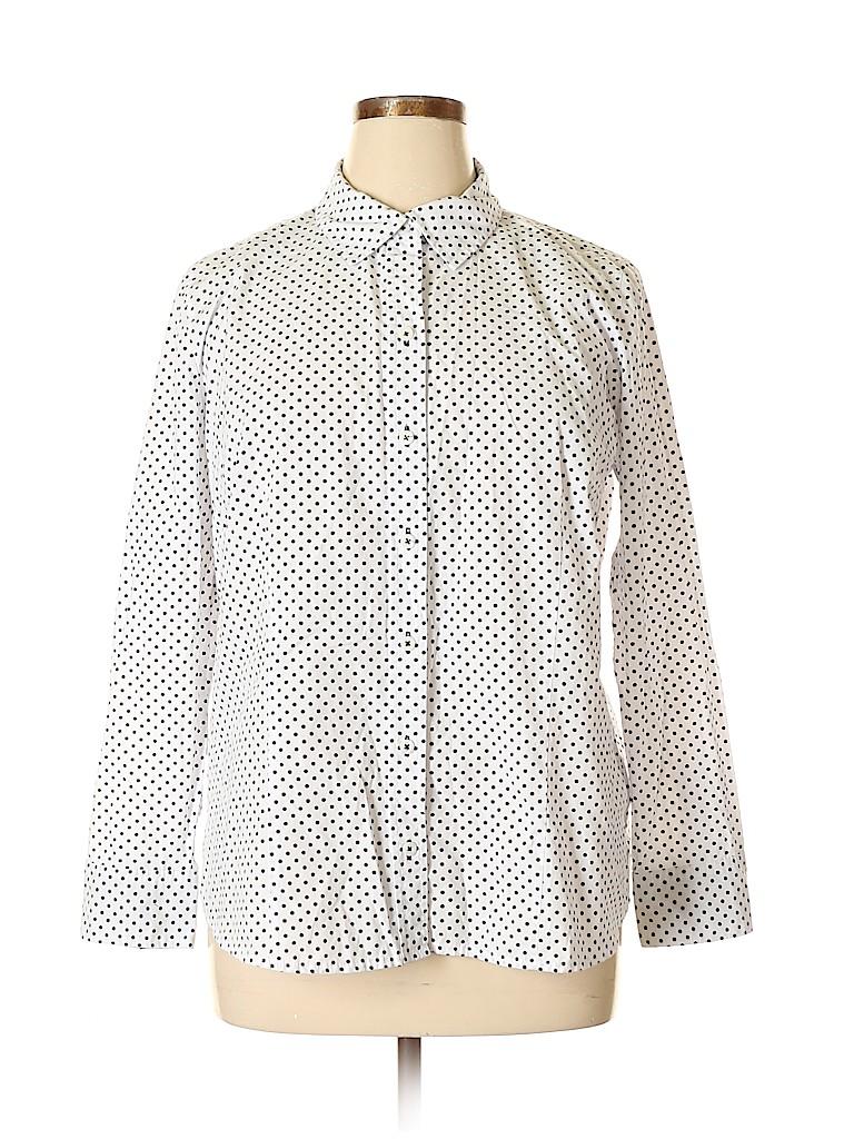 Basic Editions Women Long Sleeve Button-Down Shirt Size XL