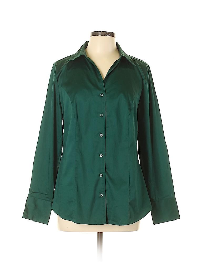 Lane Bryant Women Long Sleeve Button-Down Shirt Size 14 (Plus)