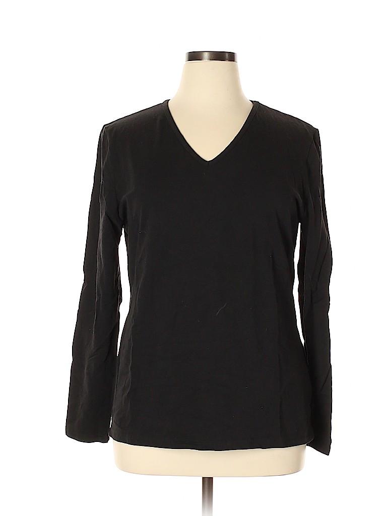 Basic Editions Women Long Sleeve T-Shirt Size XXL