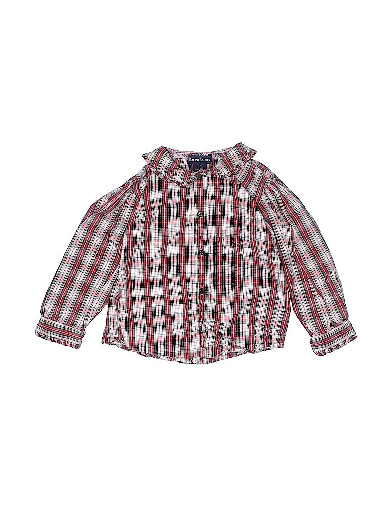 Ralph Lauren Girls Long Sleeve Button-Down Shirt Size 4