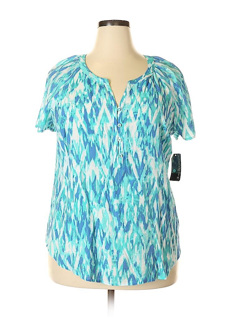 Kim Rogers Women Short Sleeve Blouse Size XL