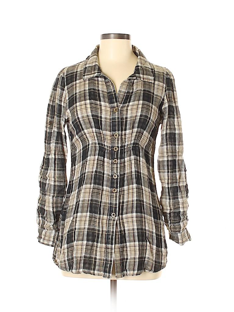 Love Stitch Women Long Sleeve Button-Down Shirt Size M