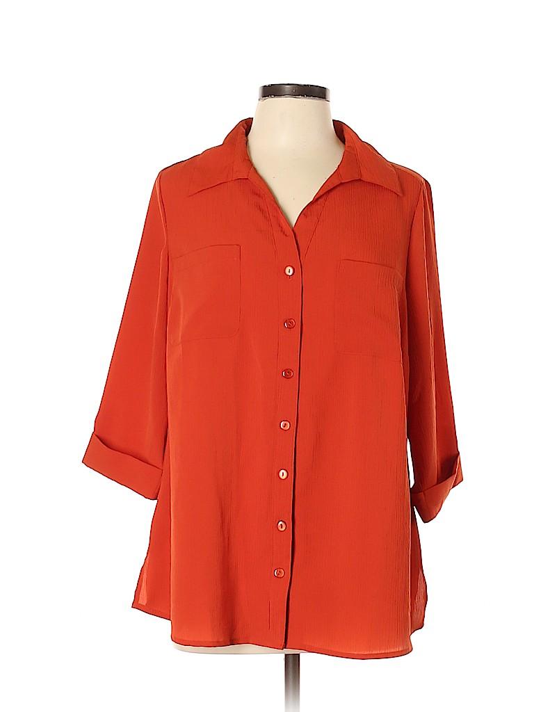 Essentials Women 3/4 Sleeve Blouse Size 0X (Plus)