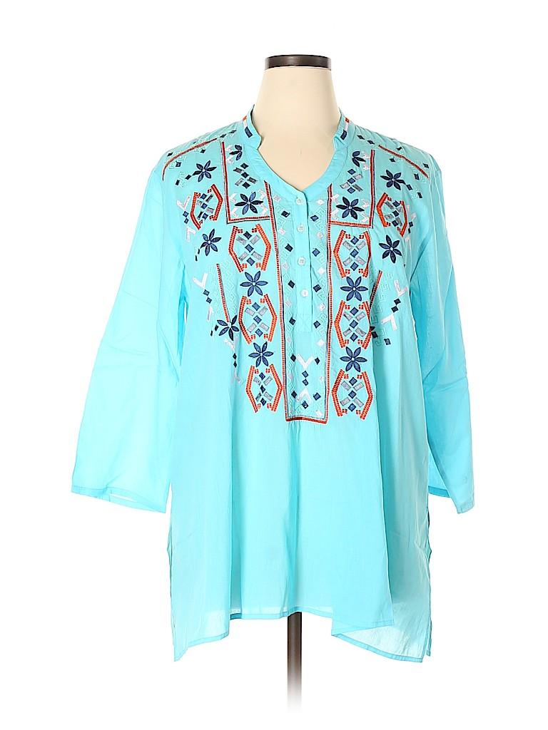 Fresh Produce Women 3/4 Sleeve Button-Down Shirt Size XL - XXL