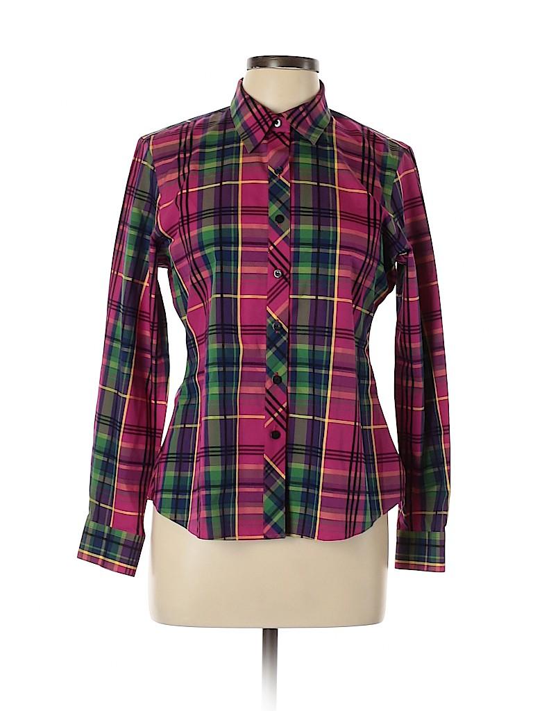 Foxcroft Women Long Sleeve Button-Down Shirt Size 12 (Petite)