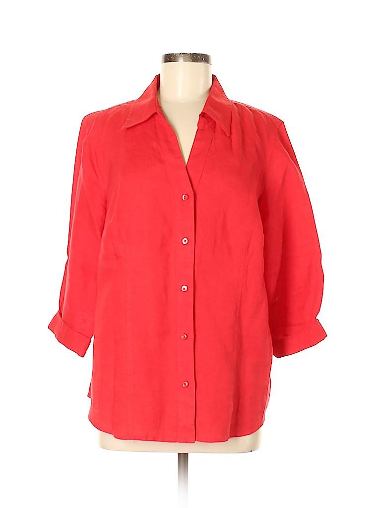 Talbots Outlet Women 3/4 Sleeve Button-Down Shirt Size 0X (Plus)