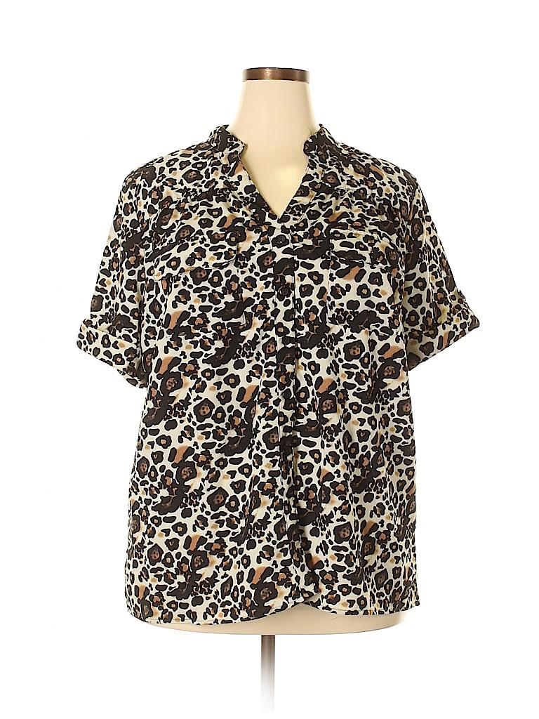 Notations Women Short Sleeve Blouse Size 3X (Plus)