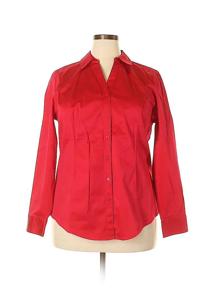 Lane Bryant Women Long Sleeve Button-Down Shirt Size 20 (Plus)