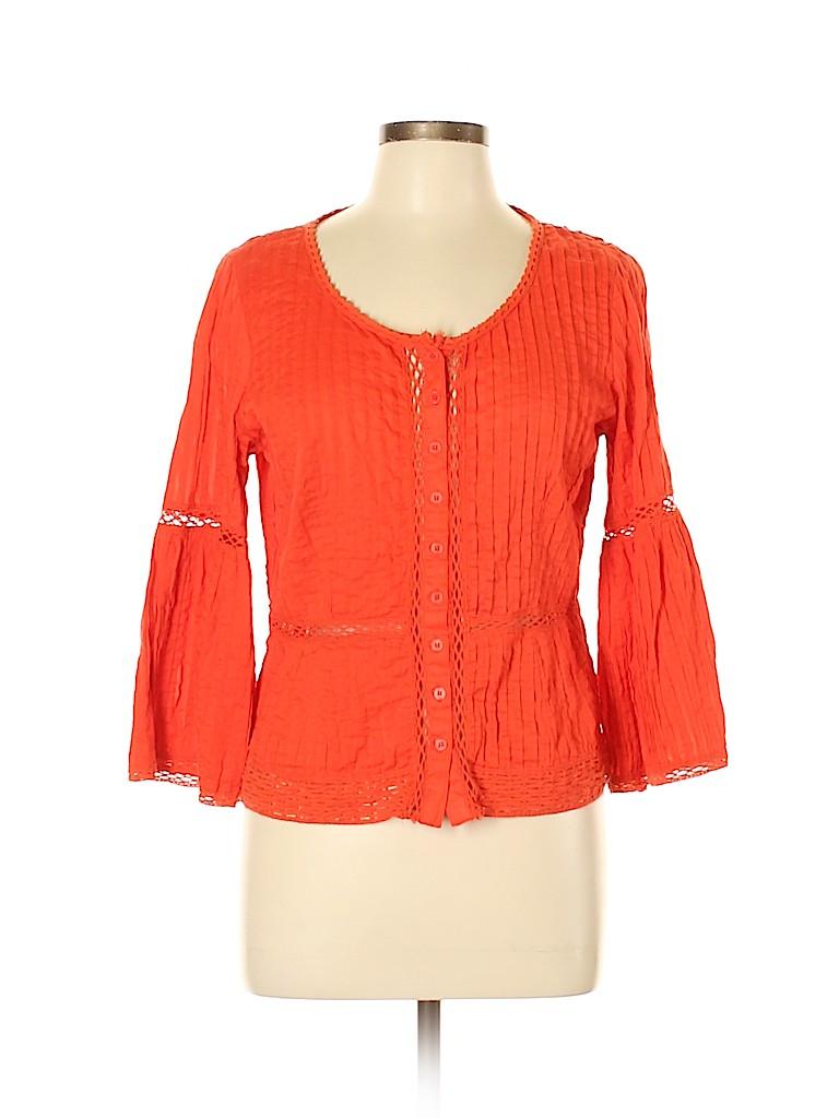 NANETTE Nanette Lepore Women 3/4 Sleeve Button-Down Shirt Size 8