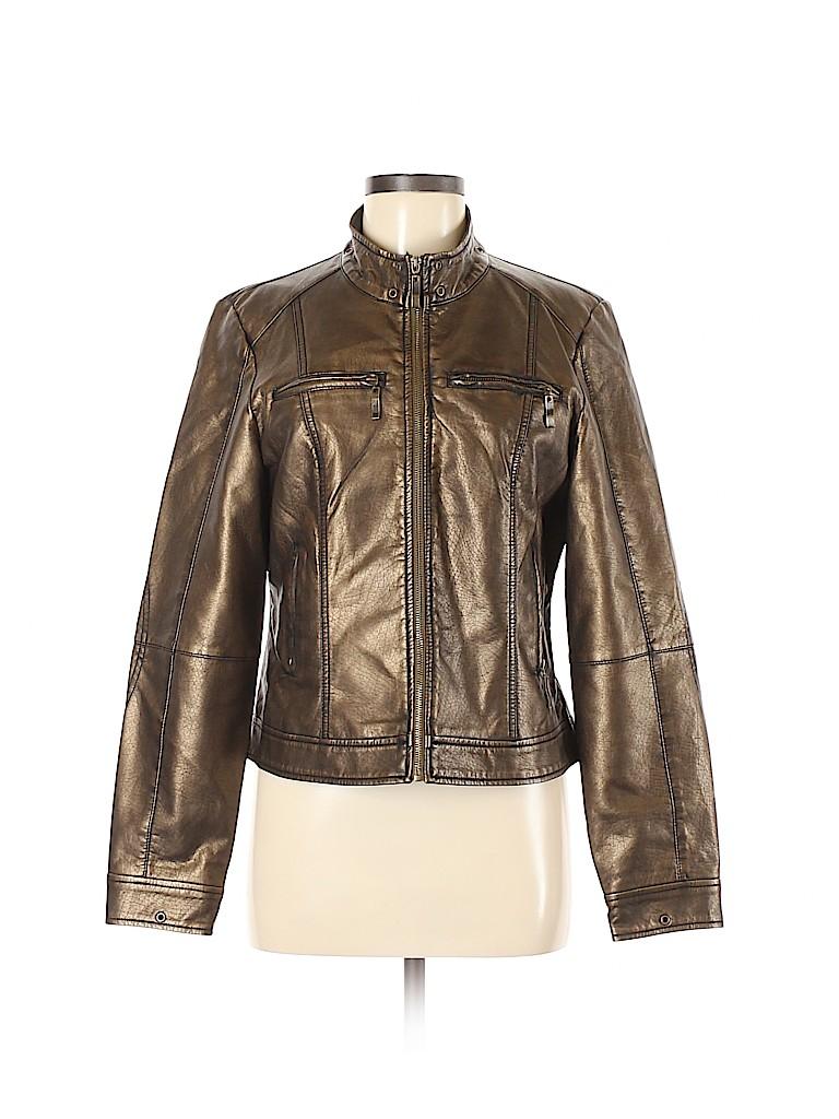 Ruff Hewn Women Faux Leather Jacket Size M