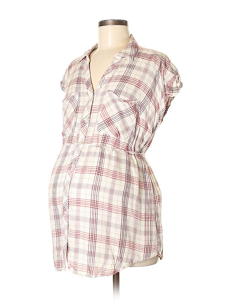 Motherhood Women Short Sleeve Button-Down Shirt Size M (Maternity)