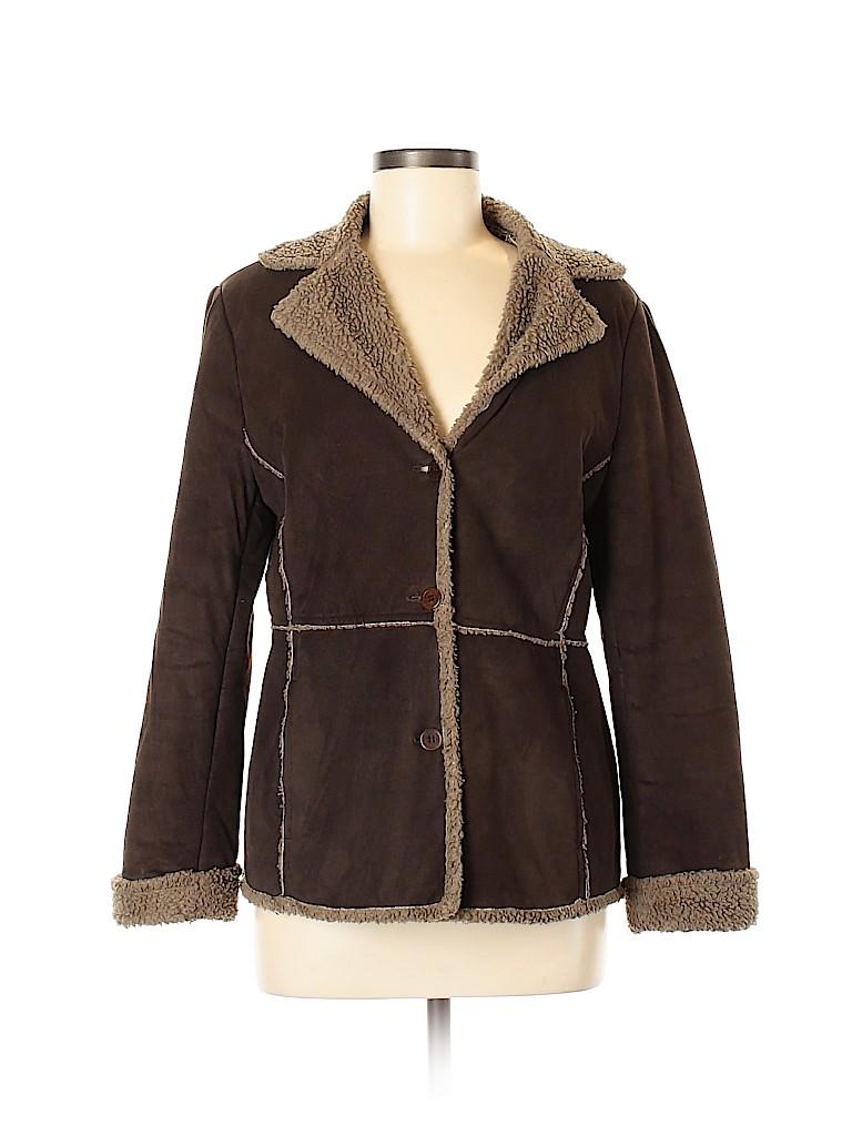 Nine & Company Women Faux Leather Jacket Size 8 (Petite)