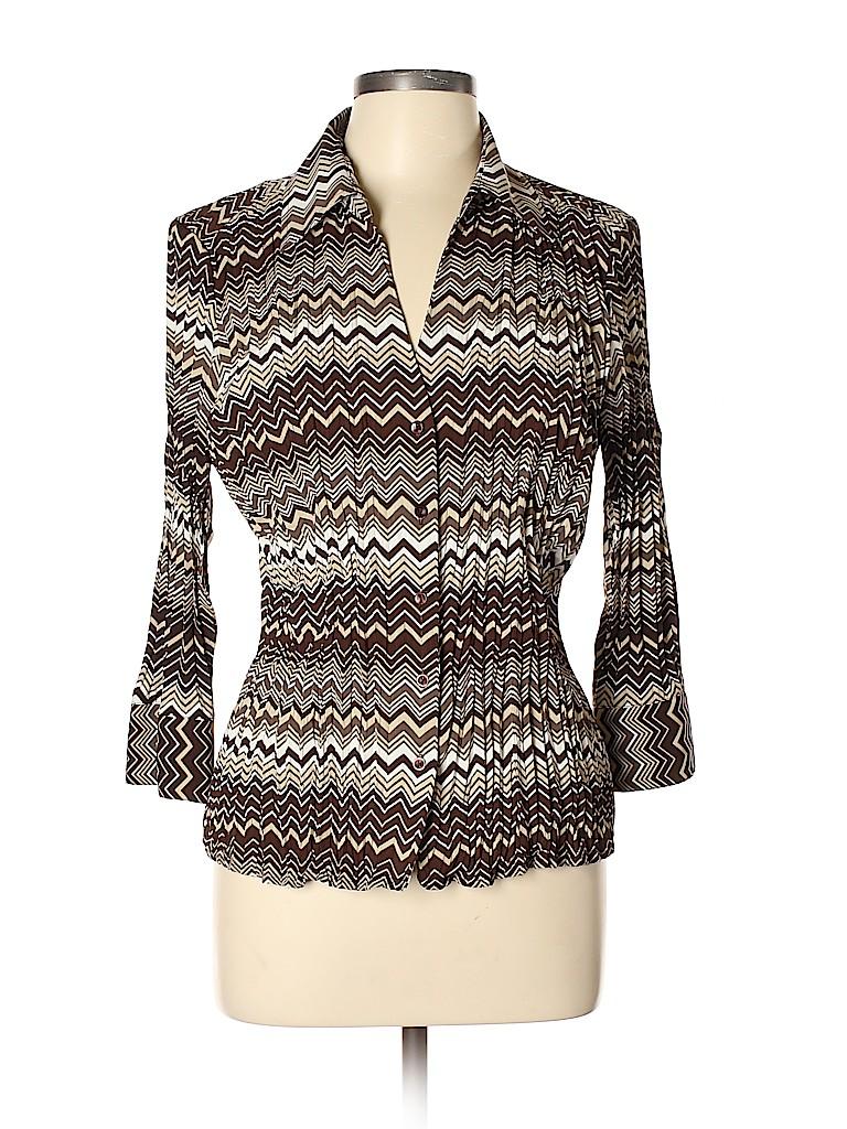 Scott Taylor Women Long Sleeve Button-Down Shirt Size L