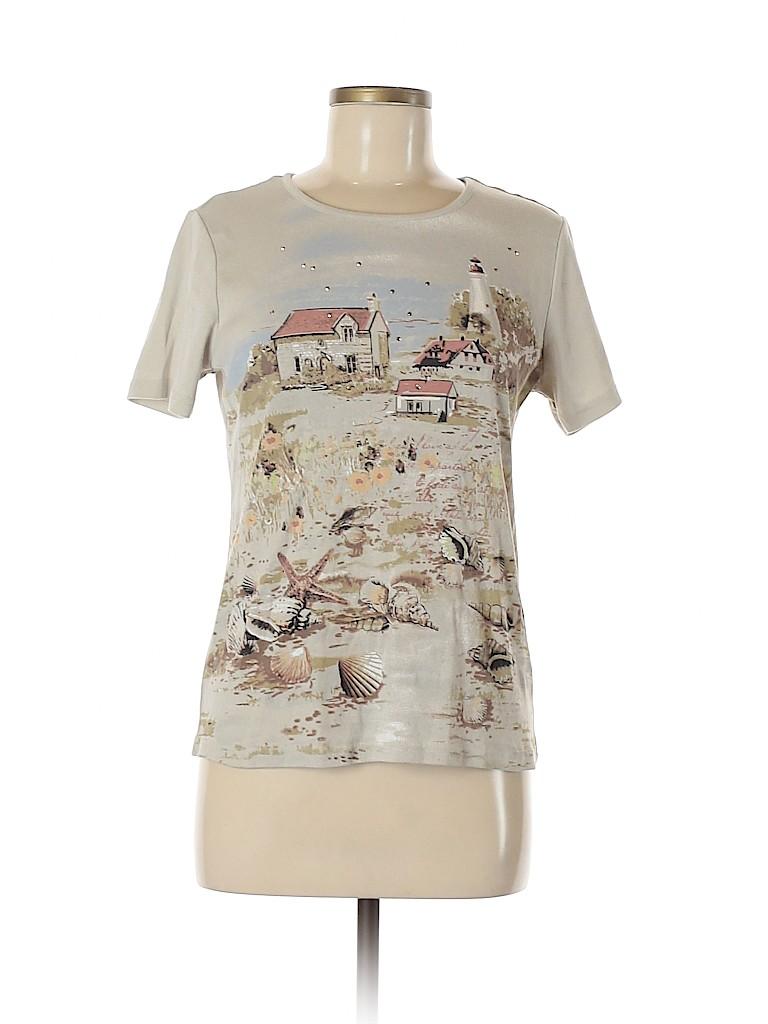 Basic Editions Women Short Sleeve T-Shirt Size M