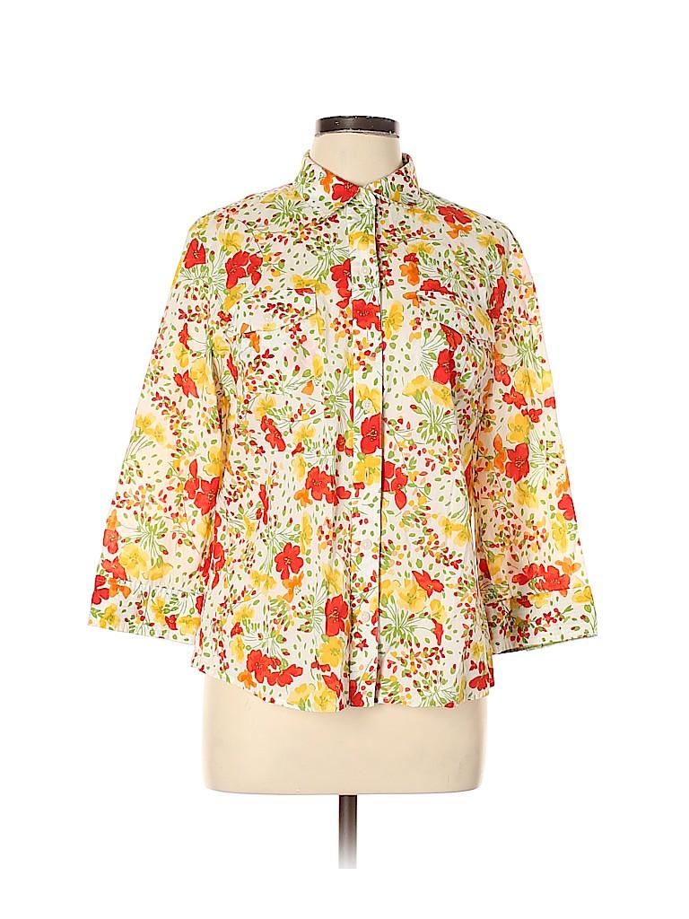 Jones New York Signature Women 3/4 Sleeve Button-Down Shirt Size L