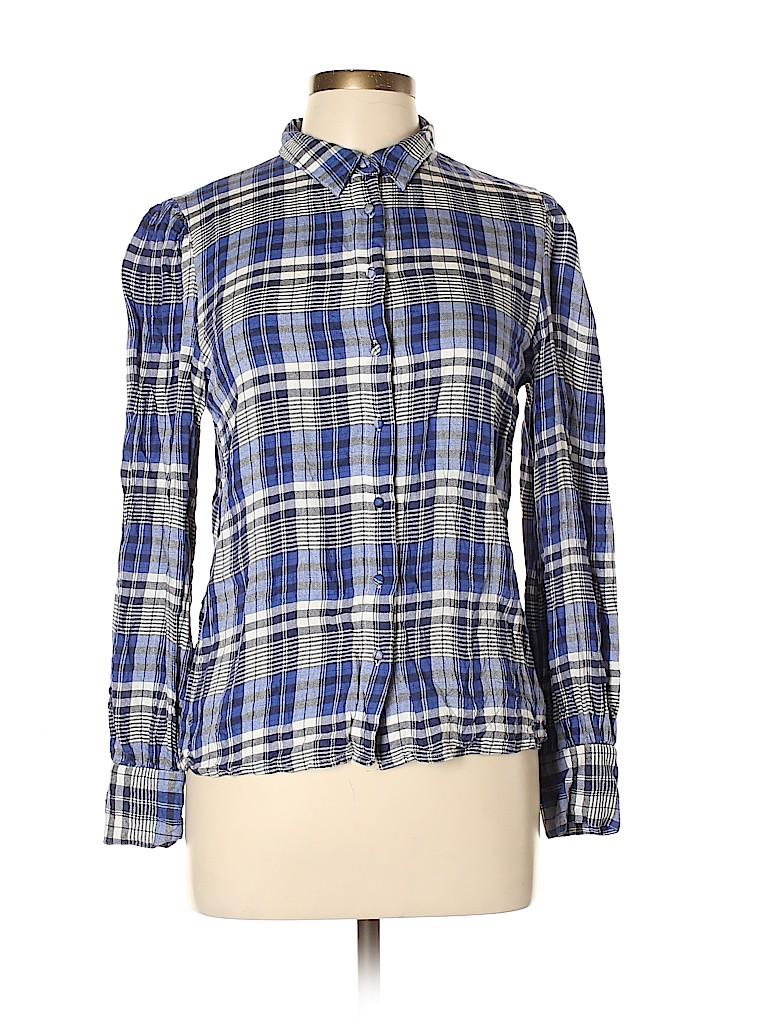 MNG Women Long Sleeve Button-Down Shirt Size L