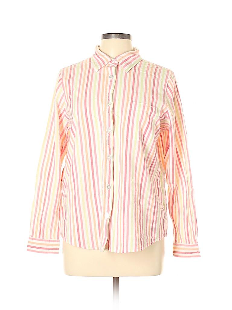Blair Women 3/4 Sleeve Button-Down Shirt Size L