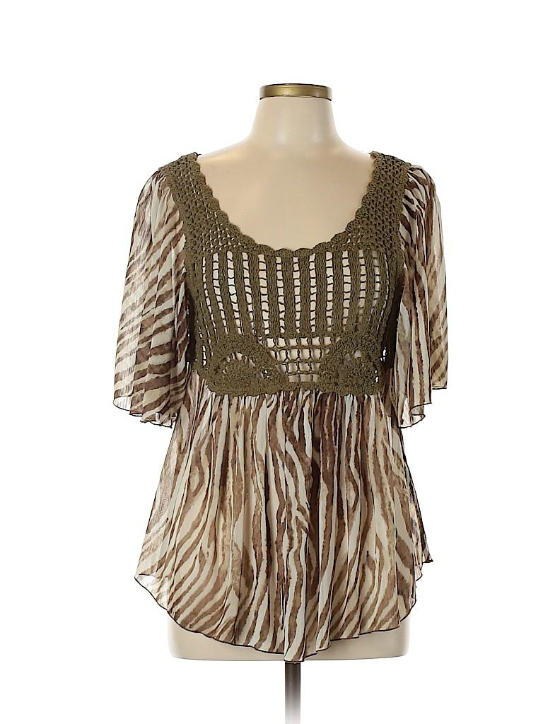 Signature by Larry Levine Women Short Sleeve Blouse Size L