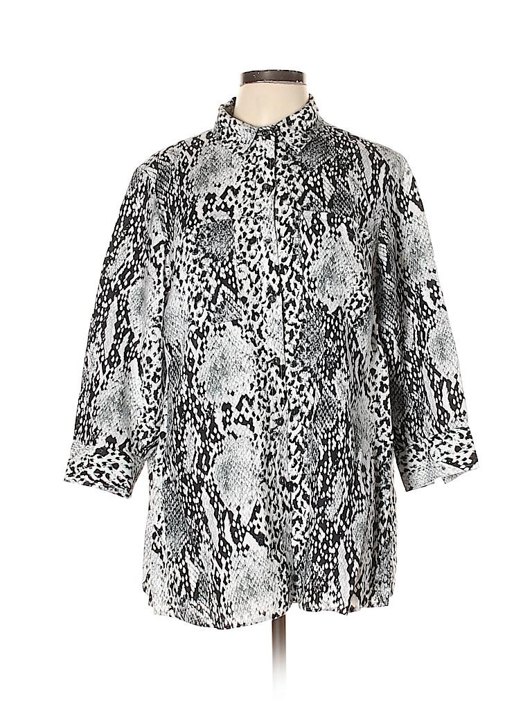 Jones New York Women 3/4 Sleeve Button-Down Shirt Size 0X (Plus)
