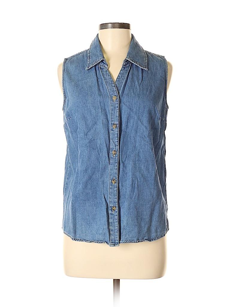 Cherokee Women Sleeveless Button-Down Shirt Size M