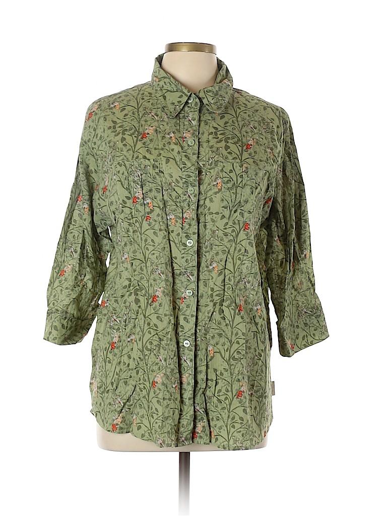 Woolrich Women 3/4 Sleeve Button-Down Shirt Size XL