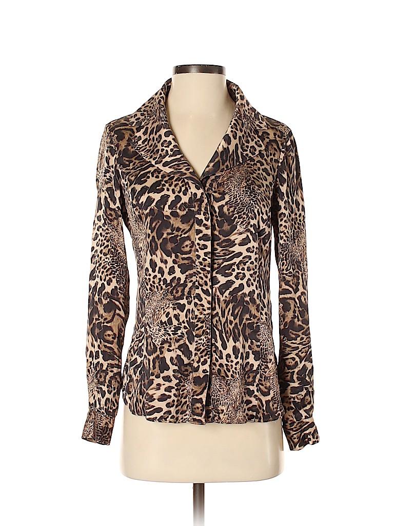 Lafayette 148 New York Women Long Sleeve Silk Top Size 2