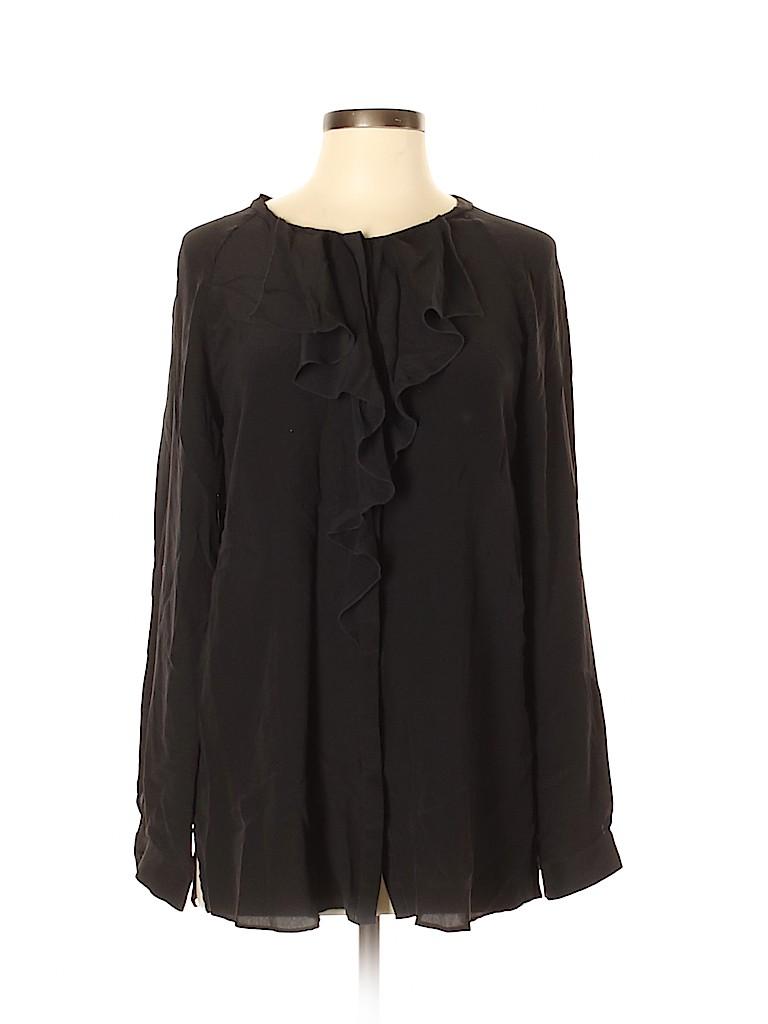 T Tahari Women Long Sleeve Silk Top Size M
