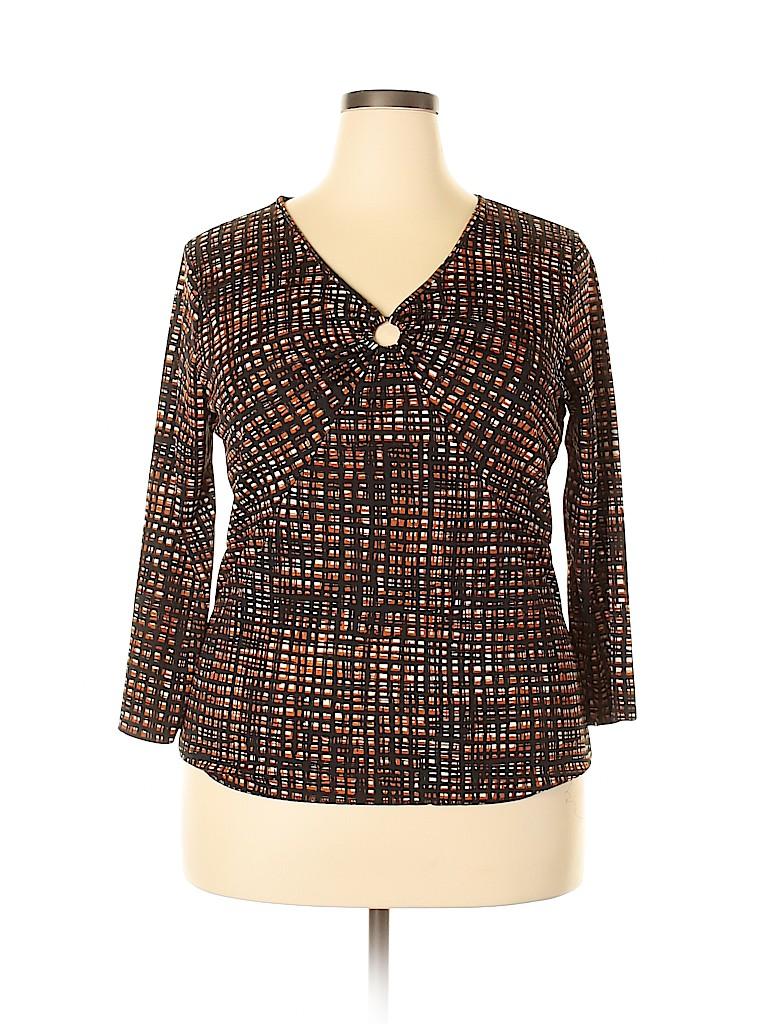 Jones New York Collection Women 3/4 Sleeve Top Size XL