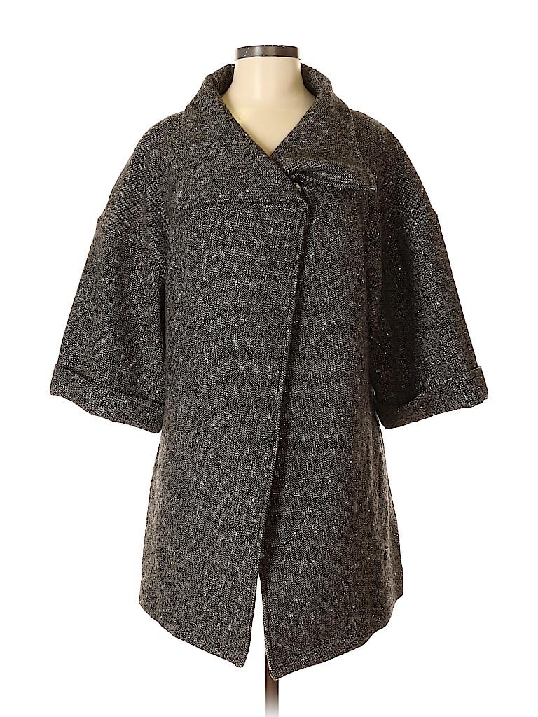H By Halston Women Wool Coat Size Med - Gold metallic threads