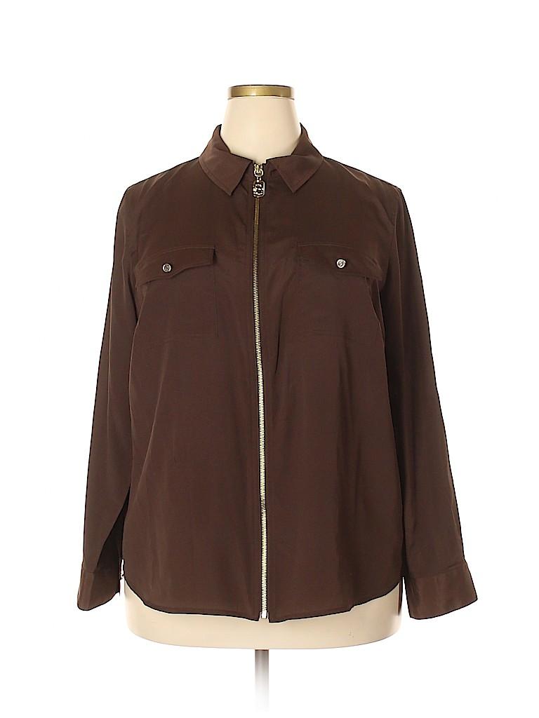 MICHAEL Michael Kors Women Long Sleeve Blouse Size 2X (Plus)