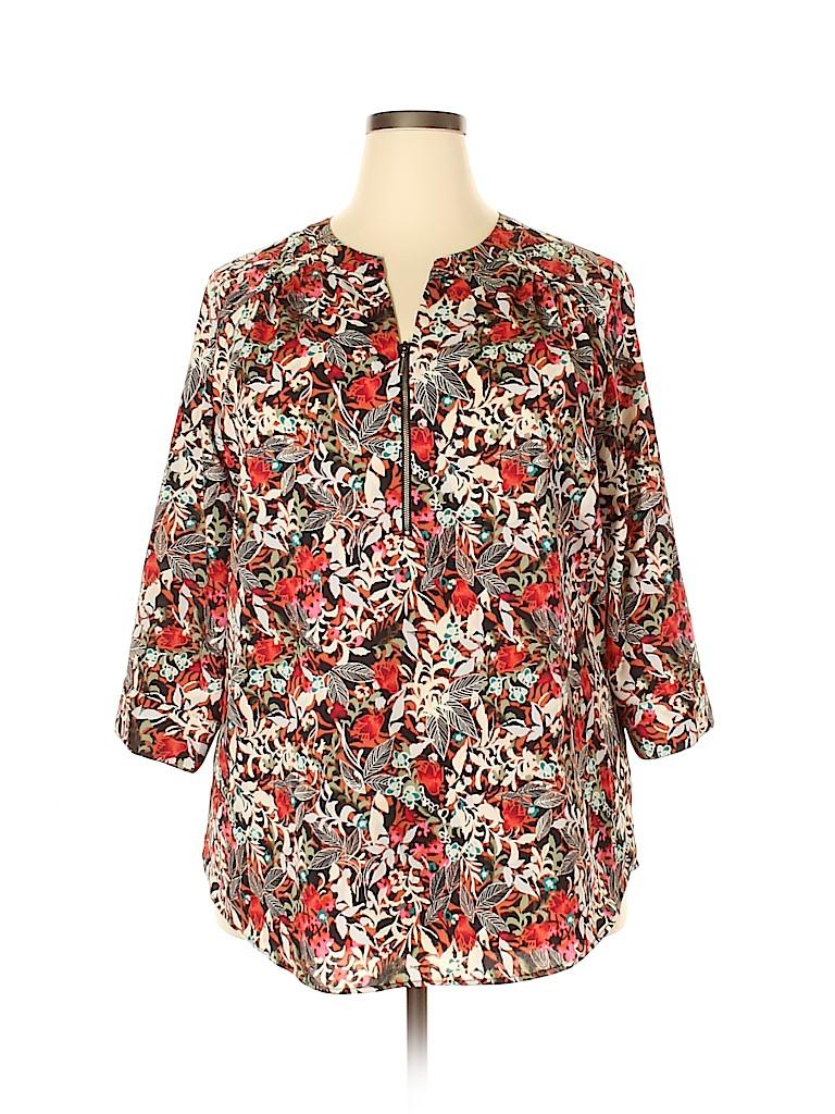 Cj Banks Women 3/4 Sleeve Blouse Size 2X (Plus)
