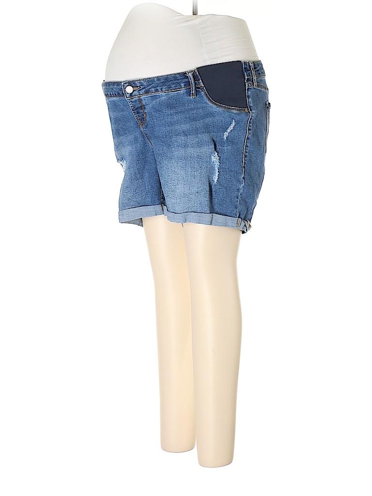 Pink Blush Women Denim Shorts Size 16 (Maternity)